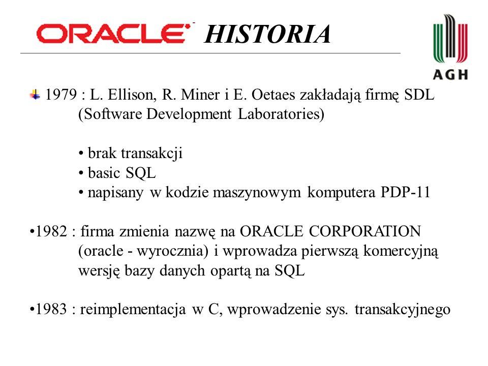 1985 : wsparcie dla modelu client-server 1986 : ORACLE 5, wprowadzenie distributed queries 1988 : ORACLE 6, wsparcie dla PL/SQL, wprowadzenie locking mech.