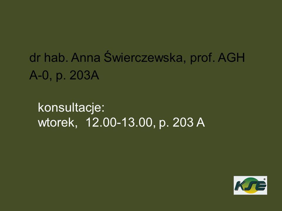 dr hab. Anna Świerczewska, prof. AGH A-0, p. 203A konsultacje: wtorek, 12.00-13.00, p. 203 A