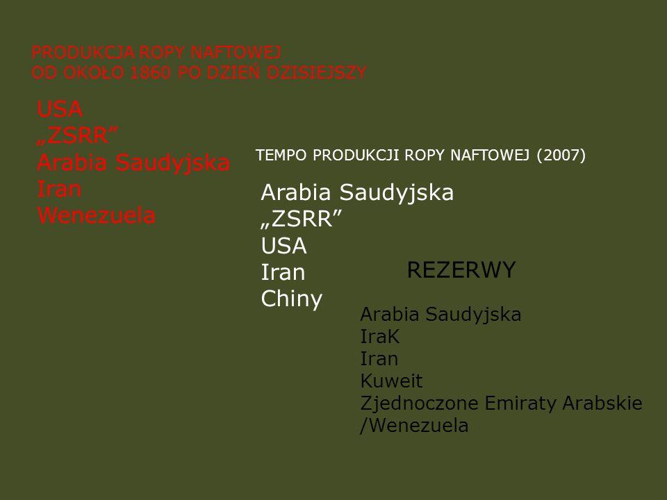 PRODUKCJA ROPY NAFTOWEJ OD OKOŁO 1860 PO DZIEŃ DZISIEJSZY TEMPO PRODUKCJI ROPY NAFTOWEJ (2007) REZERWY Arabia Saudyjska ZSRR USA Iran Chiny USA ZSRR A