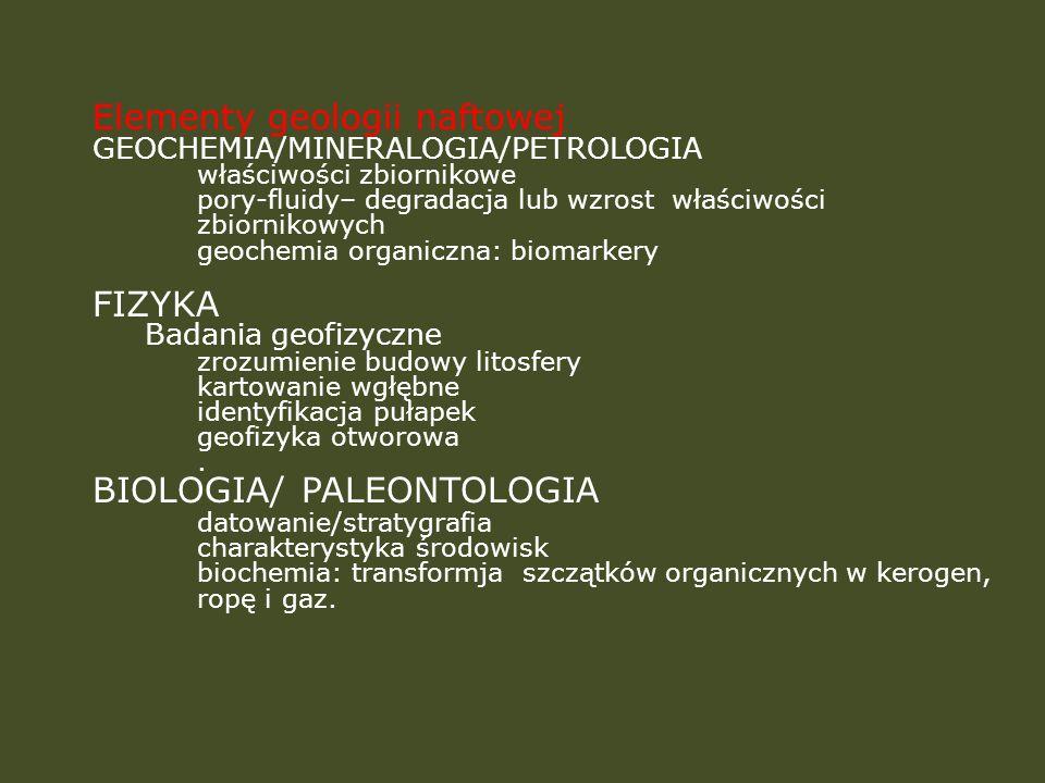 Elementy geologii naftowej GEOCHEMIA/MINERALOGIA/PETROLOGIA właściwości zbiornikowe pory-fluidy– degradacja lub wzrost właściwości zbiornikowych geoch