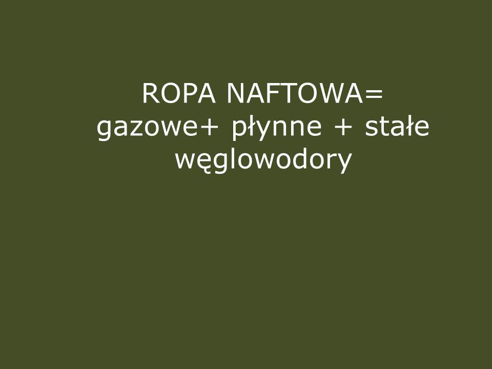 ROPA NAFTOWA= gazowe+ płynne + stałe węglowodory
