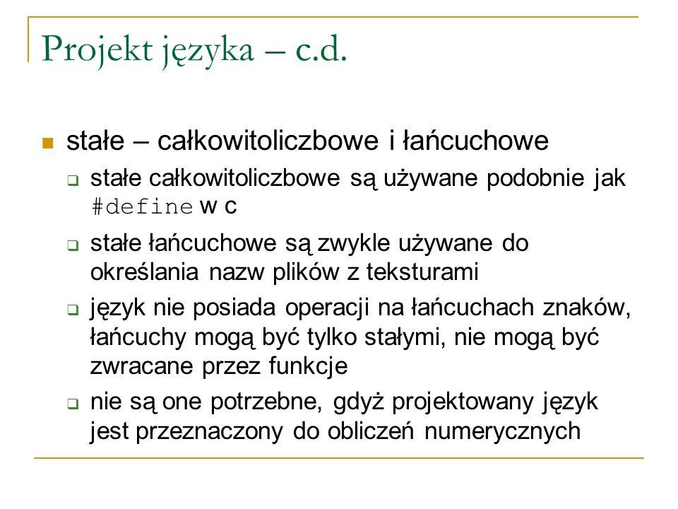 Projekt języka – c.d.