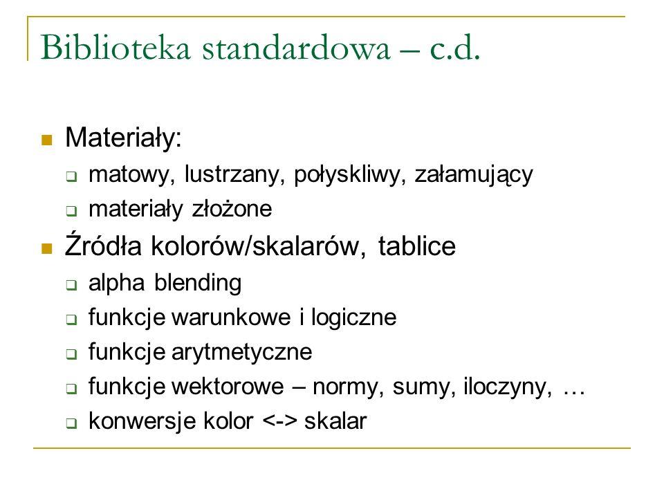 Biblioteka standardowa – c.d.