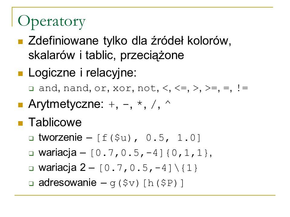 Operatory Zdefiniowane tylko dla źródeł kolorów, skalarów i tablic, przeciążone Logiczne i relacyjne: and, nand, or, xor, not,, >=, =, != Arytmetyczne: +, -, *, /, ^ Tablicowe tworzenie – [f($u), 0.5, 1.0] wariacja – [0.7,0.5,-4]{0,1,1}, wariacja 2 – [0.7,0.5,-4]\{1} adresowanie – g($v)[h($P)]