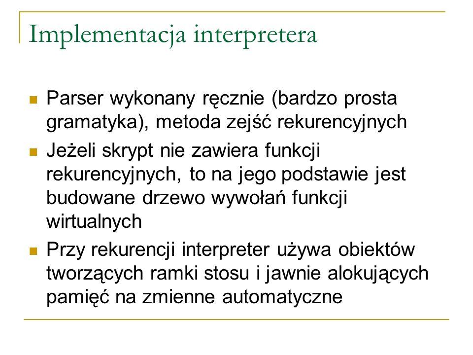Implementacja interpretera Parser wykonany ręcznie (bardzo prosta gramatyka), metoda zejść rekurencyjnych Jeżeli skrypt nie zawiera funkcji rekurencyjnych, to na jego podstawie jest budowane drzewo wywołań funkcji wirtualnych Przy rekurencji interpreter używa obiektów tworzących ramki stosu i jawnie alokujących pamięć na zmienne automatyczne