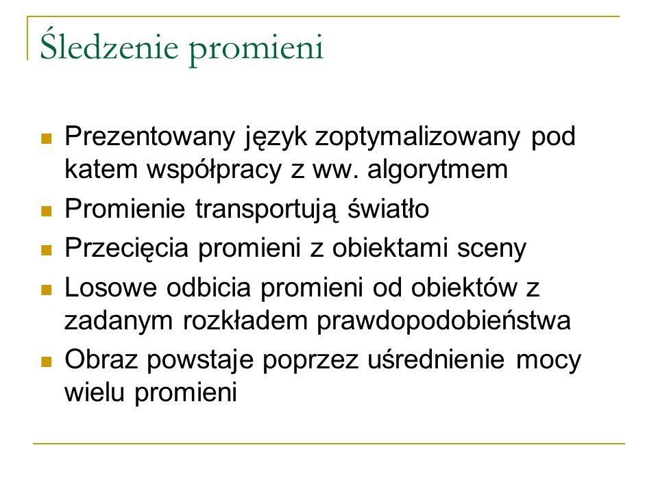 Śledzenie promieni Prezentowany język zoptymalizowany pod katem współpracy z ww.