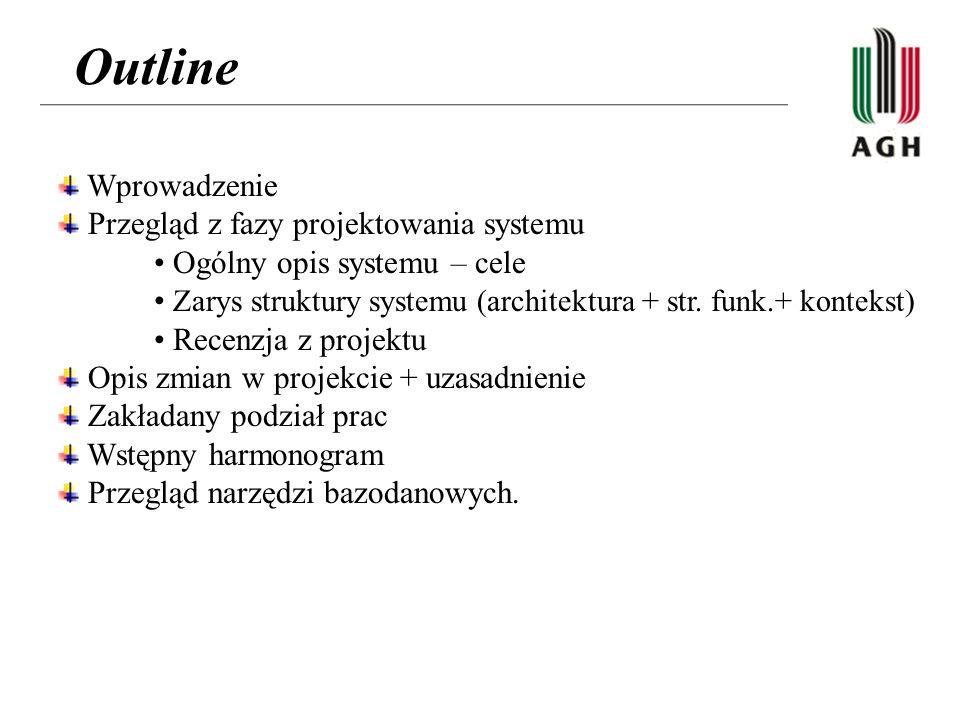 Outline Wprowadzenie Przegląd z fazy projektowania systemu Ogólny opis systemu – cele Zarys struktury systemu (architektura + str.