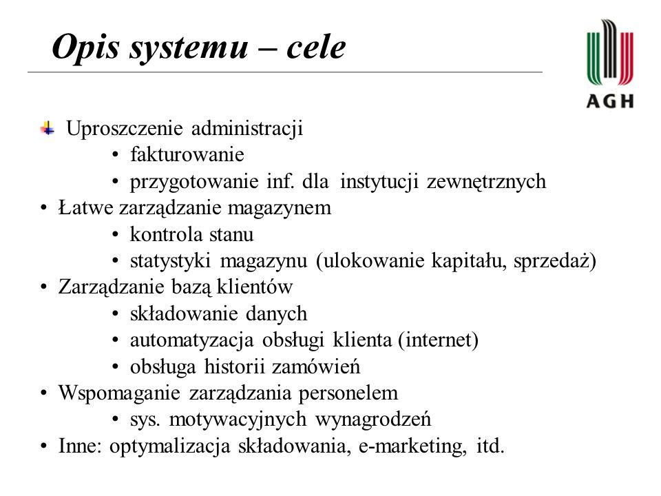 Opis systemu – cele Uproszczenie administracji fakturowanie przygotowanie inf.