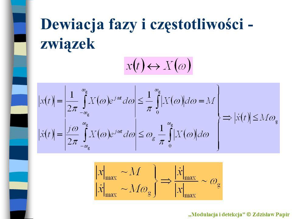 Dewiacja fazy i częstotliwości - związek Modulacja i detekcja Zdzisław Papir