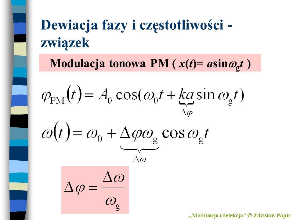 Dewiacja fazy i częstotliwości - związek Modulacja tonowa PM ( x(t)= asin g t ) Modulacja i detekcja Zdzisław Papir