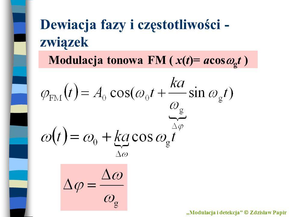 Dewiacja fazy i częstotliwości - związek Modulacja tonowa FM ( x(t)= acos g t ) Modulacja i detekcja Zdzisław Papir