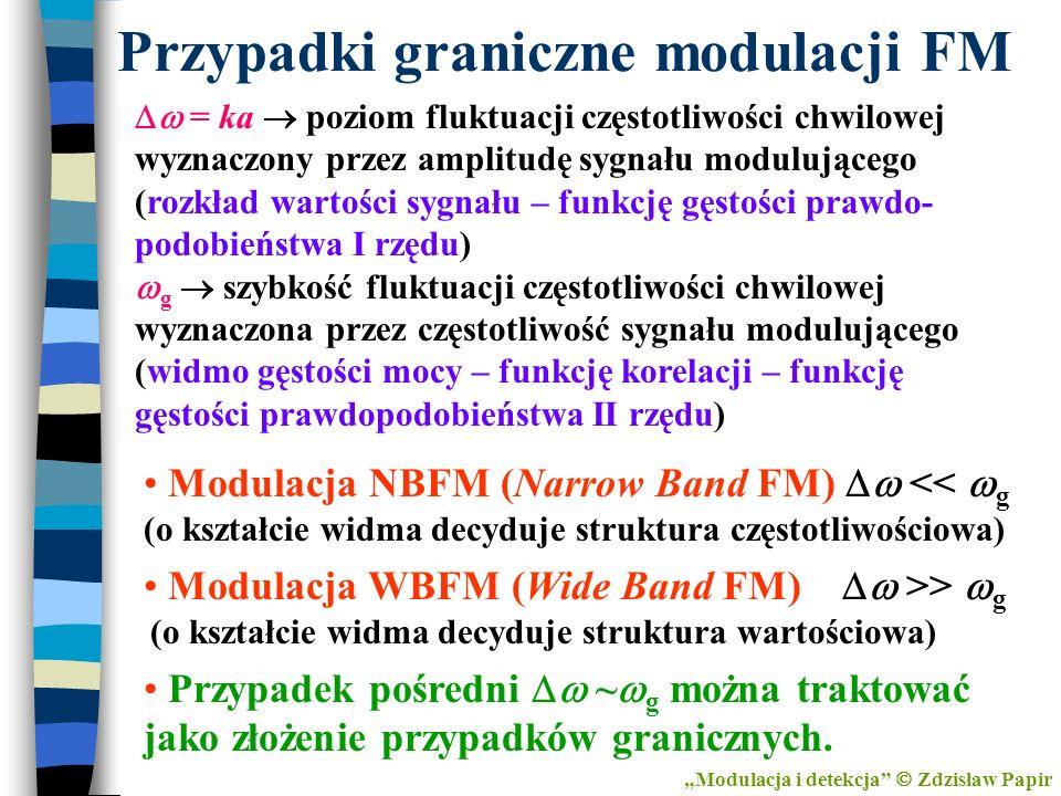 Przypadki graniczne modulacji FM Modulacja NBFM (Narrow Band FM) << g (o kształcie widma decyduje struktura częstotliwościowa) Modulacja WBFM (Wide Ba