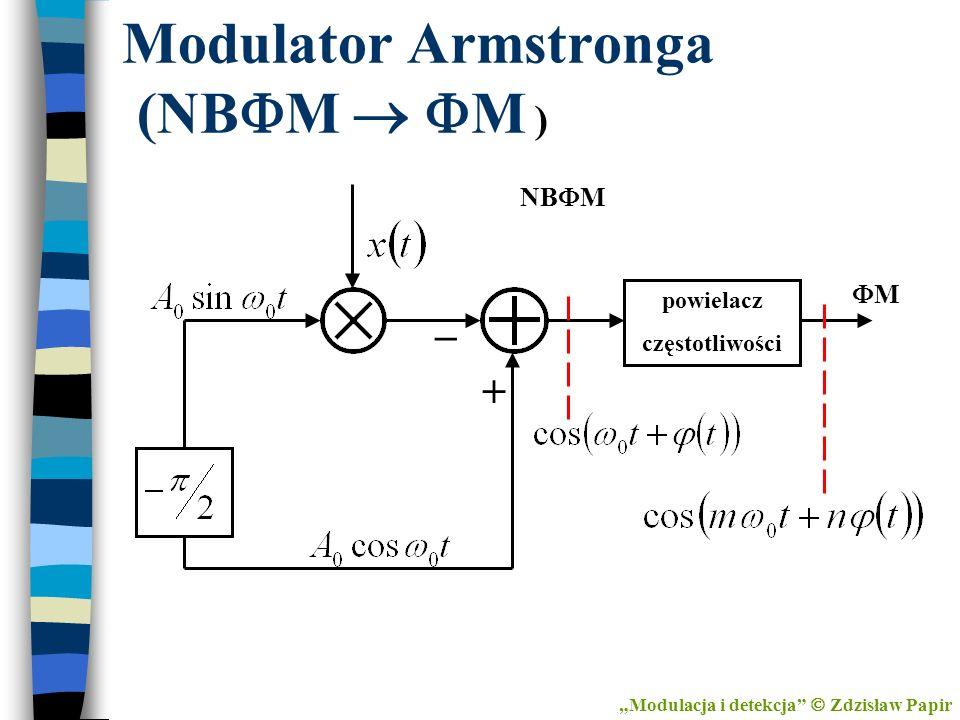 Modulator Armstronga (NB M M ) Modulacja i detekcja Zdzisław Papir powielacz częstotliwości NB M _ + M