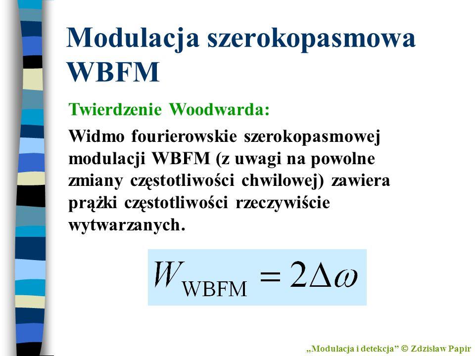 Modulacja szerokopasmowa WBFM Twierdzenie Woodwarda: Widmo fourierowskie szerokopasmowej modulacji WBFM (z uwagi na powolne zmiany częstotliwości chwi