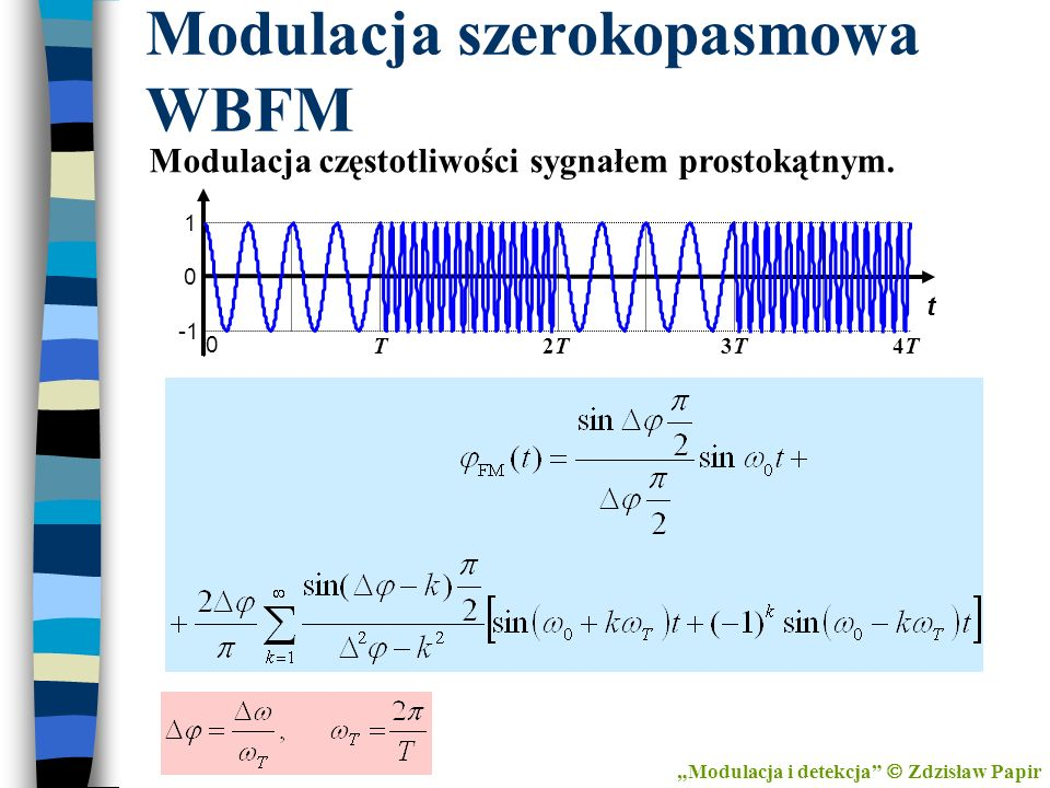 Modulacja szerokopasmowa WBFM Modulacja i detekcja Zdzisław Papir Modulacja częstotliwości sygnałem prostokątnym. 0 T 0 1 t 2T2T3T3T4T4T