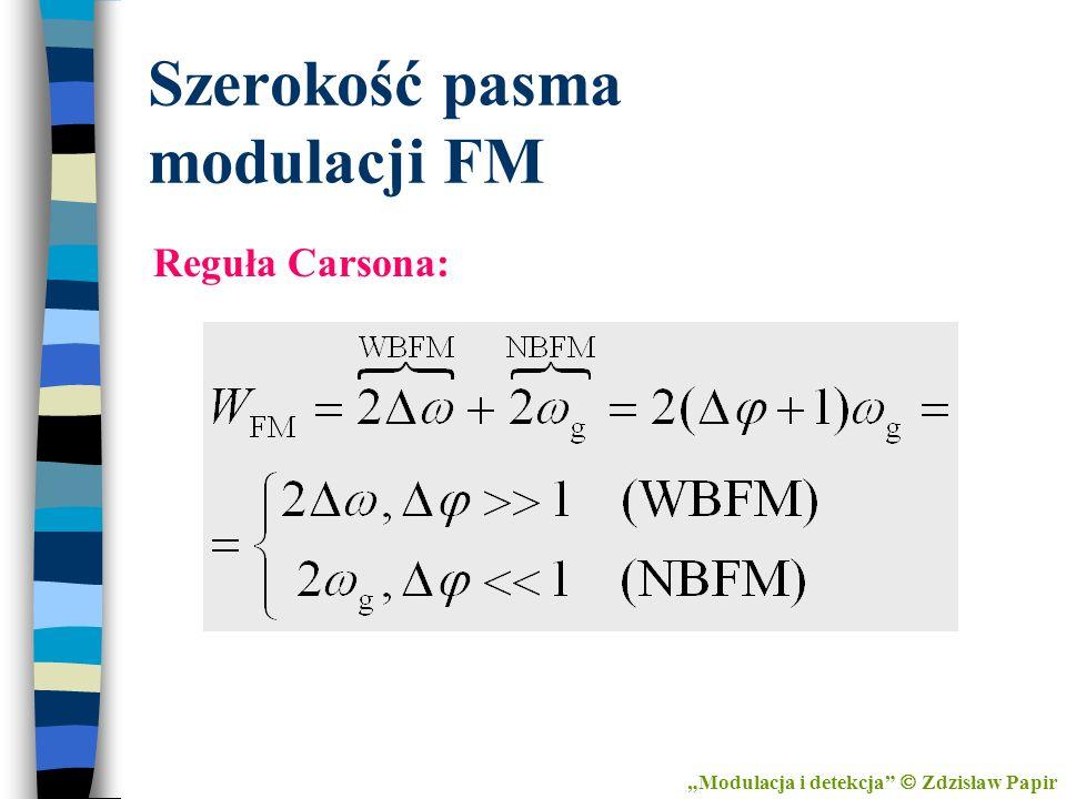 Szerokość pasma modulacji FM Reguła Carsona: Modulacja i detekcja Zdzisław Papir