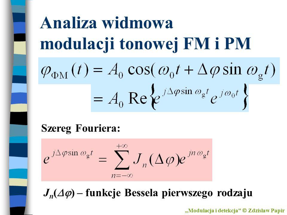 J n ( ) – funkcje Bessela pierwszego rodzaju Analiza widmowa modulacji tonowej FM i PM Modulacja i detekcja Zdzisław Papir Szereg Fouriera: