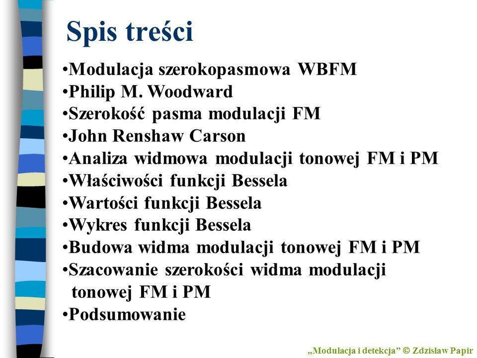 Spis treści Modulacja szerokopasmowa WBFM Philip M. Woodward Szerokość pasma modulacji FM John Renshaw Carson Analiza widmowa modulacji tonowej FM i P