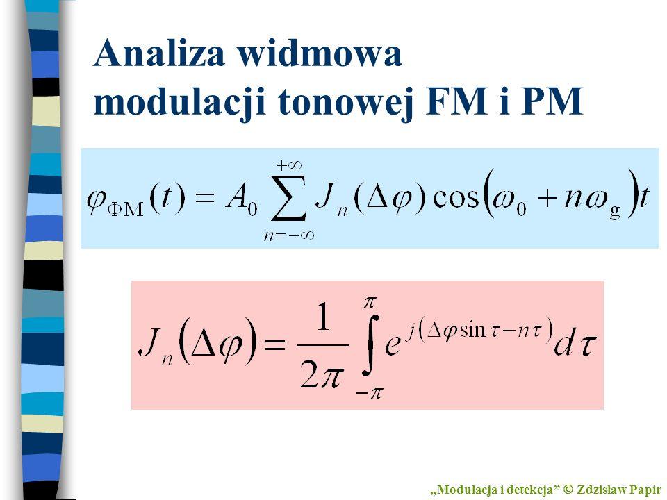 Analiza widmowa modulacji tonowej FM i PM Modulacja i detekcja Zdzisław Papir