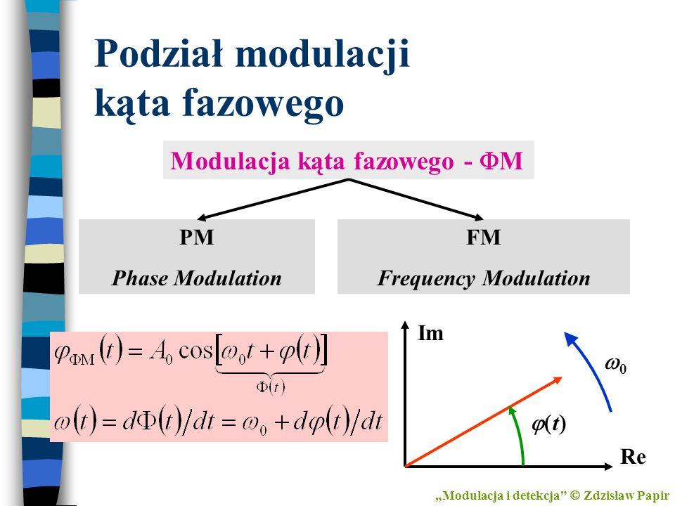 Podział modulacji kąta fazowego Modulacja kąta fazowego - M PM Phase Modulation FM Frequency Modulation 0 t Im Re Modulacja i detekcja Zdzisław Papir
