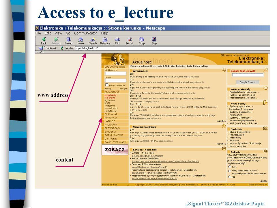 Signal Theory Zdzisław Papir Access to e_lecture www address content