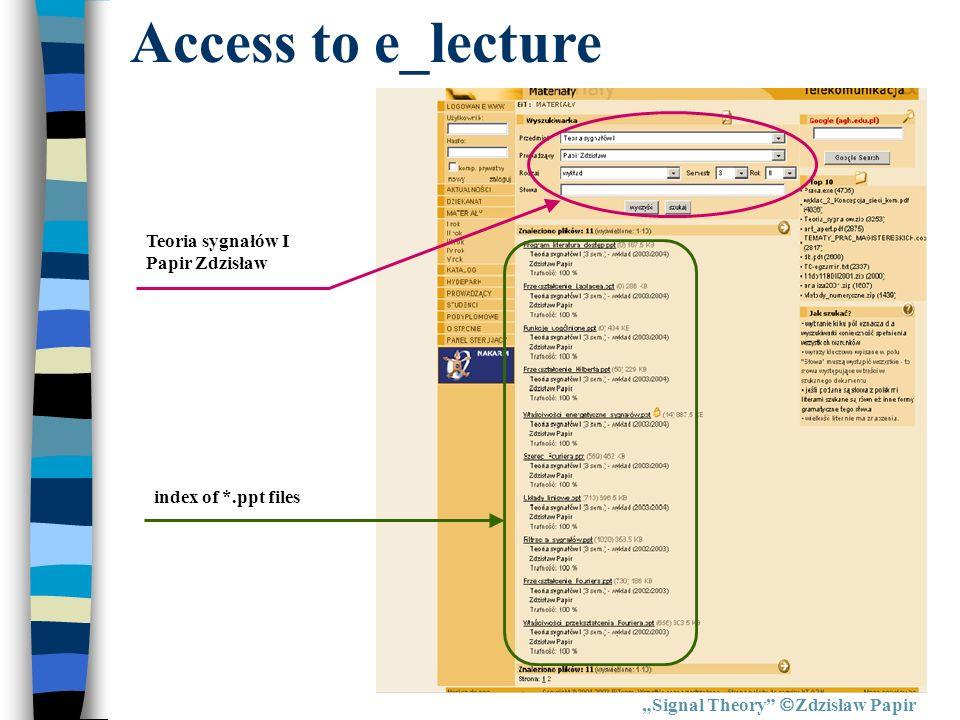 Signal Theory Zdzisław Papir Access to e_lecture index of *.ppt files Teoria sygnałów I Papir Zdzisław
