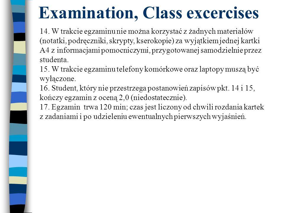 Examination, Class excercises 14. W trakcie egzaminu nie można korzystać z żadnych materiałów (notatki, podręczniki, skrypty, kserokopie) za wyjątkiem