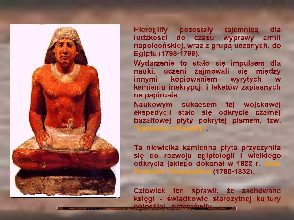 Hieroglify pozostały tajemnicą dla ludzkości do czasu wyprawy armii napoleońskiej, wraz z grupą uczonych, do Egiptu (1798-1799). Wydarzenie to stało s