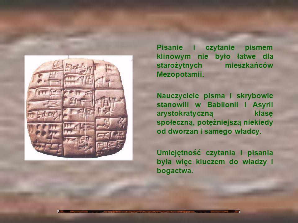 Pisanie i czytanie pismem klinowym nie było łatwe dla starożytnych mieszkańców Mezopotamii. Nauczyciele pisma i skrybowie stanowili w Babilonii i Asyr