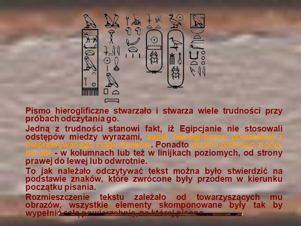 Pismo hieroglificzne stwarzało i stwarza wiele trudności przy próbach odczytania go. Jedną z trudności stanowi fakt, iż Egipcjanie nie stosowali odstę