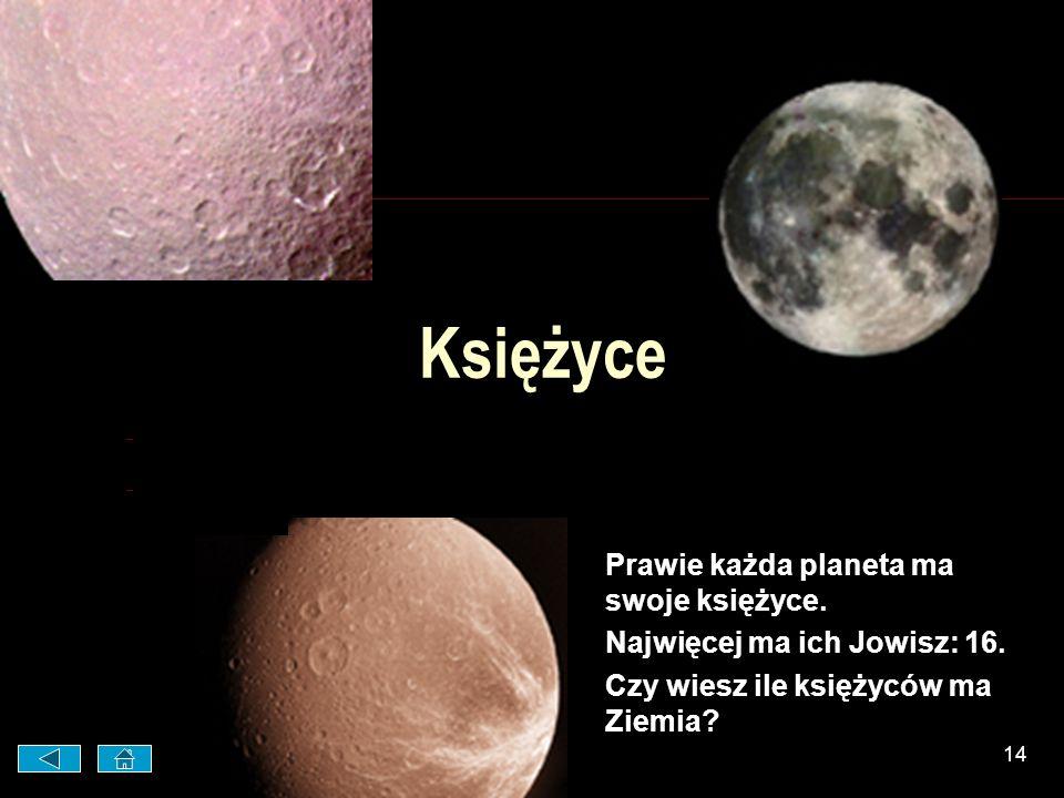 13 Pluton Pluton jest najdalej od Słońca. Jest najzimniejszą planetą. Temperatura schodzi tam do – 240ºC !
