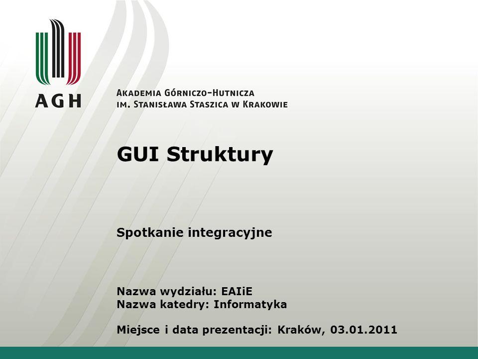 GUI Struktury Spotkanie integracyjne Nazwa wydziału: EAIiE Nazwa katedry: Informatyka Miejsce i data prezentacji: Kraków, 03.01.2011