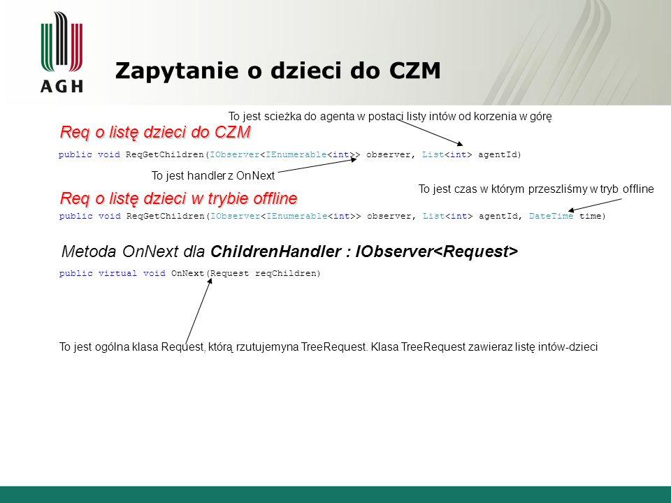 Zapytanie o dzieci do CZM public void ReqGetChildren(IObserver > observer, List agentId, DateTime time) public void ReqGetChildren(IObserver > observer, List agentId) public virtual void OnNext(Request reqChildren) Req o listę dzieci do CZM Req o listę dzieci w trybie offline Metoda OnNext dla ChildrenHandler : IObserver To jest handler z OnNext To jest scieżka do agenta w postaci listy intów od korzenia w górę To jest czas w którym przeszliśmy w tryb offline To jest ogólna klasa Request, którą rzutujemyna TreeRequest.