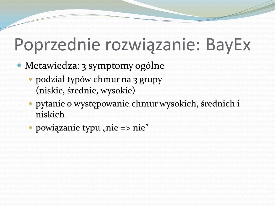Poprzednie rozwiązanie: BayEx Metawiedza: 3 symptomy ogólne podział typów chmur na 3 grupy (niskie, średnie, wysokie) pytanie o występowanie chmur wys