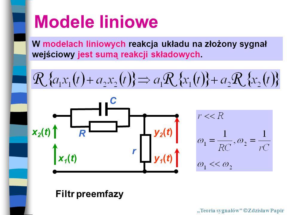 Modele liniowe W modelach liniowych reakcja układu na złożony sygnał wejściowy jest sumą reakcji składowych. Filtr preemfazy R C r x1(t)x1(t)y1(t)y1(t