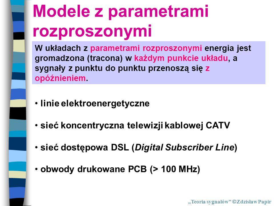Modele z parametrami rozproszonymi W układach z parametrami rozproszonymi energia jest gromadzona (tracona) w każdym punkcie układu, a sygnały z punkt