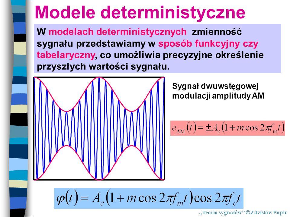 Modele deterministyczne W modelach deterministycznych zmienność sygnału przedstawiamy w sposób funkcyjny czy tabelaryczny, co umożliwia precyzyjne okr