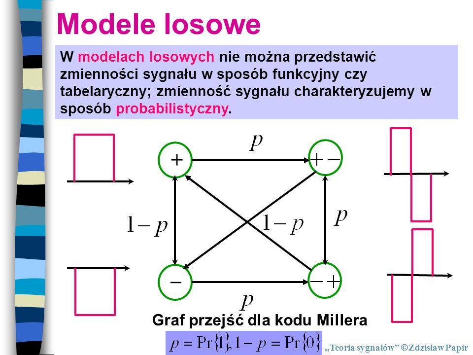 Modele losowe W modelach losowych nie można przedstawić zmienności sygnału w sposób funkcyjny czy tabelaryczny; zmienność sygnału charakteryzujemy w s