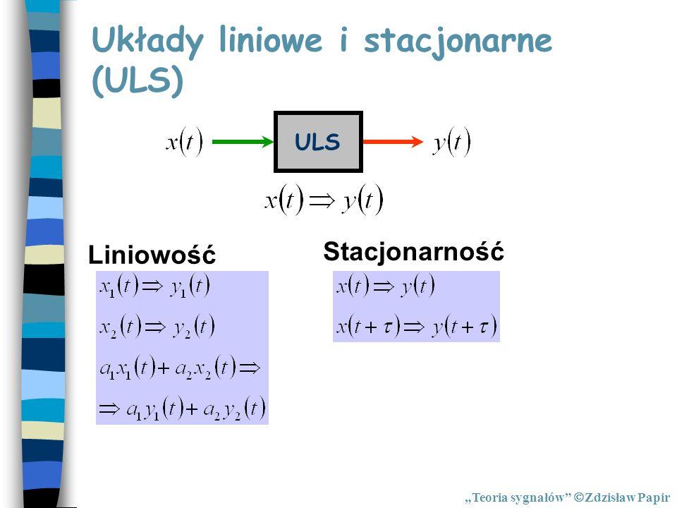 Układy liniowe i stacjonarne (ULS) ULS Liniowość Stacjonarność Teoria sygnałów Zdzisław Papir