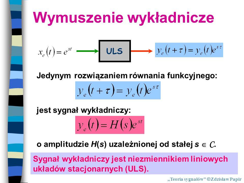 Wymuszenie wykładnicze ULS Jedynym rozwiązaniem równania funkcyjnego: jest sygnał wykładniczy: o amplitudzie H(s) uzależnionej od stałej s C. Sygnał w