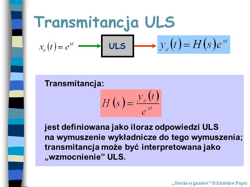 Transmitancja ULS ULS Transmitancja: jest definiowana jako iloraz odpowiedzi ULS na wymuszenie wykładnicze do tego wymuszenia; transmitancja może być