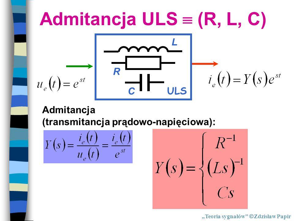 Admitancja ULS (R, L, C) Admitancja (transmitancja prądowo-napięciowa): ULS R C L Teoria sygnałów Zdzisław Papir