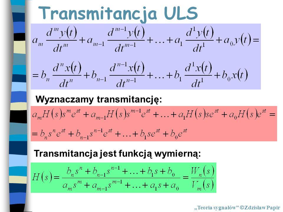 Transmitancja ULS Wyznaczamy transmitancję: Transmitancja jest funkcją wymierną: Teoria sygnałów Zdzisław Papir
