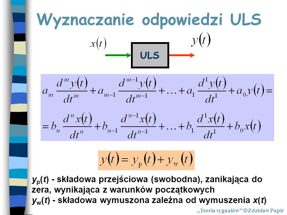 Wyznaczanie odpowiedzi ULS ULS y p (t) - składowa przejściowa (swobodna), zanikająca do zera, wynikająca z warunków początkowych y w (t) - składowa wy