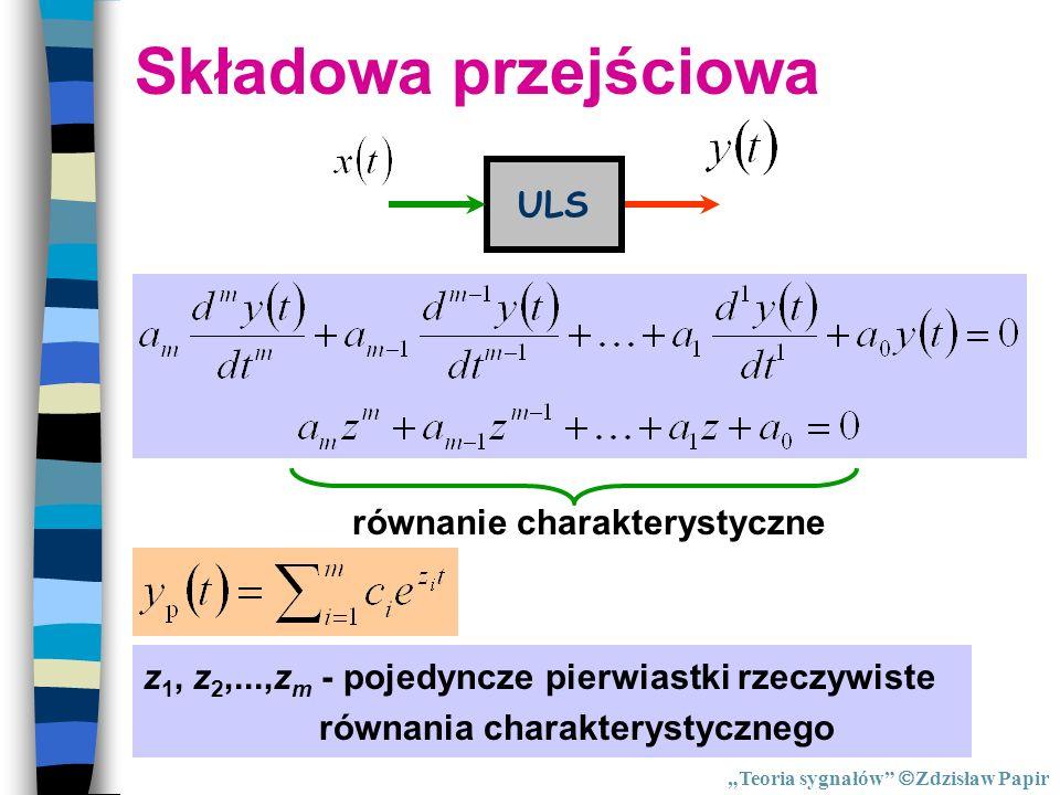 Składowa przejściowa ULS równanie charakterystyczne z 1, z 2,...,z m - pojedyncze pierwiastki rzeczywiste równania charakterystycznego Teoria sygnałów