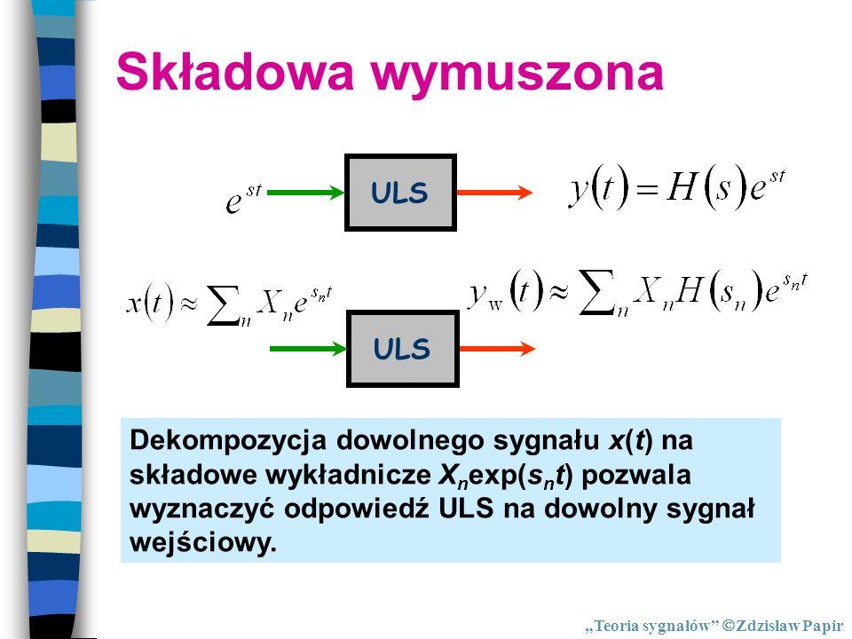 Składowa wymuszona ULS Dekompozycja dowolnego sygnału x(t) na składowe wykładnicze X n exp(s n t) pozwala wyznaczyć odpowiedź ULS na dowolny sygnał we
