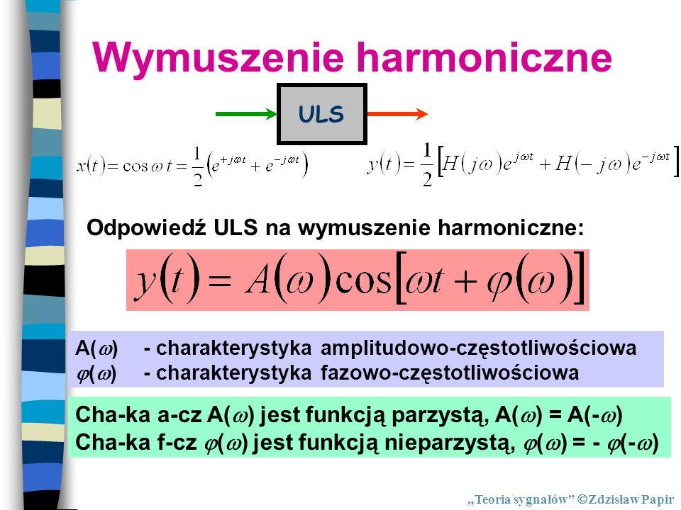 Wymuszenie harmoniczne ULS Odpowiedź ULS na wymuszenie harmoniczne: A( )- charakterystyka amplitudowo-częstotliwościowa ( )- charakterystyka fazowo-cz
