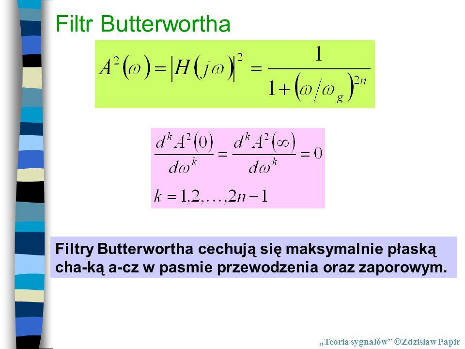 Filtr Butterwortha Filtry Butterwortha cechują się maksymalnie płaską cha-ką a-cz w pasmie przewodzenia oraz zaporowym. Teoria sygnałów Zdzisław Papir