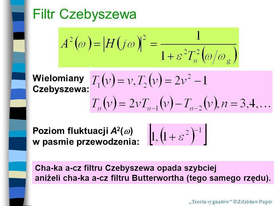 Filtr Czebyszewa Wielomiany Czebyszewa: Poziom fluktuacji A 2 ( ) w pasmie przewodzenia: Cha-ka a-cz filtru Czebyszewa opada szybciej aniżeli cha-ka a