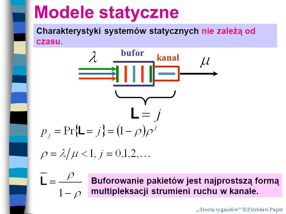 Modele statyczne Charakterystyki systemów statycznych nie zależą od czasu. Buforowanie pakietów jest najprostszą formą multipleksacji strumieni ruchu